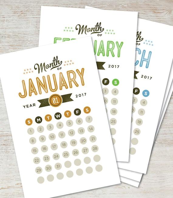 GO GETTER Printable Desk Calendar 2017 2018 Digital Instant Download Modern Retro Vintage Typography Monthly Planner DIY