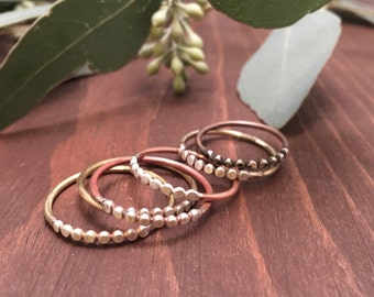 Mixed Metal Stackable Rings - Sterling Silver, Brass or Copper