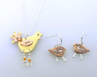 Chicken Earrings, Little Chick Earrings, copper earrings, funky chickens, animal jewelry, chicken jewelry by Kathryn Riechert