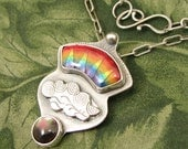 "Enameled Rainbow ""From Darkness Into Light"" Pendant -  Sterling with Black Mother of Pearl - OOAK"