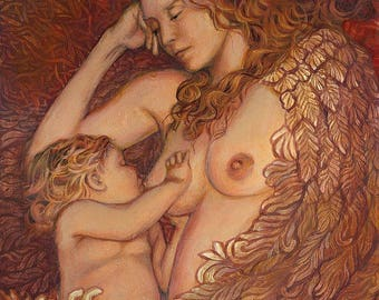 The Nestling 16x20 Fine Art Print Mythology Art Nouveau Angel Surreal Breastfeeding Mother and Child Goddess Art