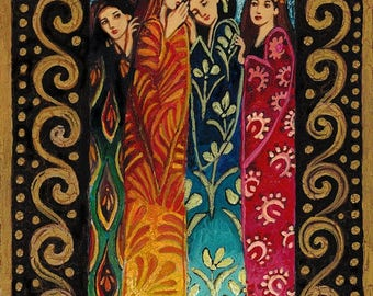 Her Secrets ACEO Mini Fine Art Print Pagan Mythology Altar Art Nouveau Bohemian Goddess Art