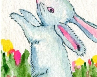 ACEO original white bunny rabbit watercolor painting with pen & ink, watercolor rabbit artist trading card, rabbit painting