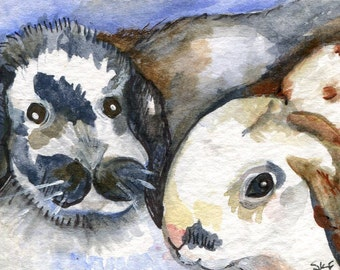 ACEO  Original Watercolor Painting Two Bunny Rabbits, watercolor rabbits, ACEO bunny, rabbit ACEO, original art