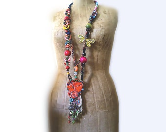 Dragon Fly Necklace, Long, Beaded, Vintage Embroidery, Boho, Colourful, Rainbow, Joyful, Beaded Tassels, Bohemian, Gypsy