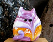 Handmade Lampwork Easter Egg Cat Bead Focal - Callie FatCat