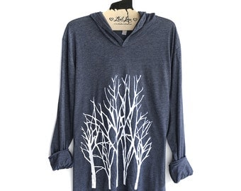 Unisex Large - Heather Navy Pull Over Hoodie Sweatshirt with Branch Trees Screen print