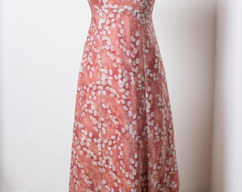 1960s Party Dress Size S Small Sleeveless Vintage Shimmery Pink