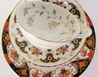 Mismatch Tea Setting in Gold Red Orange Yellow Floral Vintage China Pattern Plate Tea Cup Saucer Wedding Shower (GPS32)
