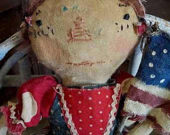 MUSTARD SEED ORIGINALS, Raggedy Ann, Old Cloth, Early American, Vintage, Antique, Americana, Red, White, Blue, Doll by Sharon Stevens