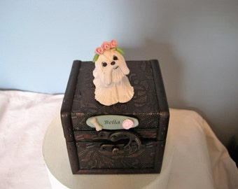 Maltese, dog, figurine, pet, casket, burial, hand sculpted, clay, embossed box, box, decorative, personalized, memorial, box, nic nac