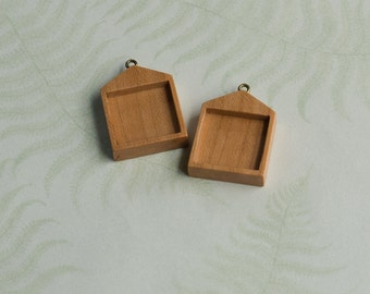 Charm earring trays fine finished - Cherry - Square - 19 mm - (H619-C) - Set of 2