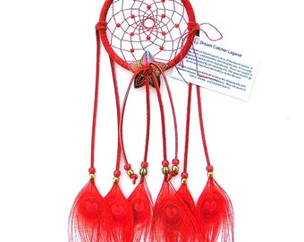 Red Dream Catcher, Peacock Eyes Feathers