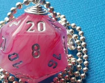 NEW STYLE - Dungeons & Dragons - D20 Die Necklace - Ghostly Glow Pink/Silver