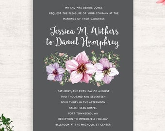 Floral Wedding Invitation Suite / Botanical wedding / Printable invitations /  Charcoal Pink Purple  / Print at Home / Summer Wedding