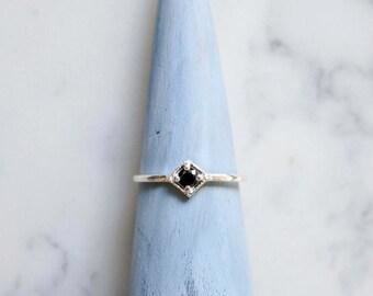 kite - 3mm BLACK ONYX silver ring. dainty square gem ring. sterling silver dainty ring geometric stacking ring jet black gemstone