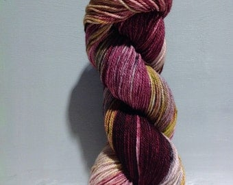 "Sock yarn fingering weight, handpainted yarn ""Cherry Blossom"" shawl yarn sock weight, red violet raspberry purple yellow green pink lavender"