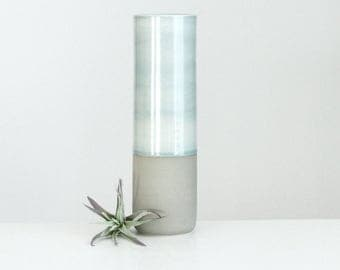 Ceramic Cylinder Vase Grey, Colorblock Vase in Grey Fog and Matte Grey, Modern Pottery Vase