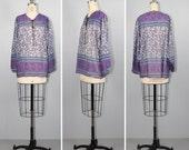 india gauze / cotton / sheer / bohemian / ON A CLOUD 1970s vintage blouse