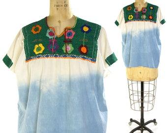 60s Embroidered Mexican Cotton Blouse Vintage 1960s Ethnic Bohemian Top Hippie Boho Peasant Huipil Folk Tie Dye Shirt M L