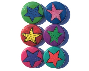 Star Magnets or Star Pinback Buttons - Multicolor Stars Set of Fridge Magnets or Pins - Teacher Gift, Stocking Stuffer, Party Favor, Badges