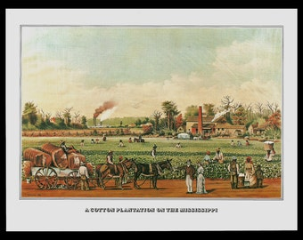 Cotton Plantation Mississippi Currier & Ives A Cotton Plantation On The Mississippi Vintage 1978 Art Print Collectible Wagon Bales Ginning