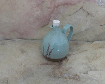 Mini Cruet Pourer - Handmade Stoneware Ceramic Pottery - Turquoise - Willow - 14 ounce