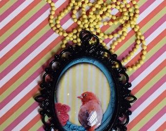 Little red lovebird filigree cabochon pendant necklace