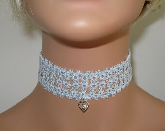 Hand-Tatted Choker - Light Grey Green with CZ in a Heart Charm - CH3