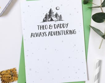 Always Adventuring Personalised Father's Day Card - Daddy Card - Child And Dad Adventure Card - Daddy Keepsake - Card For Dads - Grandad