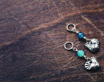 Silver Chicken - Hen - Dangle - Knit/Knitting or Crochet - Individual Stitch Marker or Place Holder
