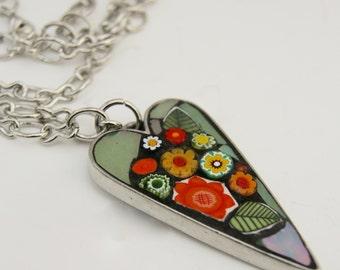 Mosaic Heart Pendant Necklace - Orange green.