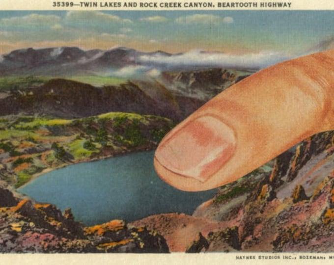Surreal Art Collage, Unusual Postcard Artwork