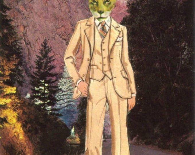 Hep Cat Art, Hipster Animal, Colorado Springs Postcard