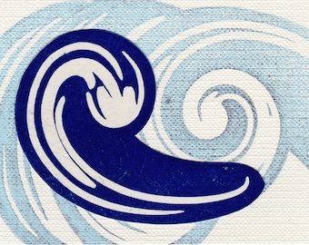 Blue Sacred Water Linocut Print Affordable Art