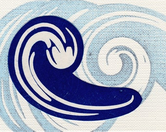Blue Sacred Water Linocut Print Affordable Art