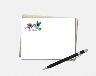 Personalized Hummingbird Note Cards, Hummingbird Note Cards, Personalized Flat Note Cards, Hummingbird Stationery