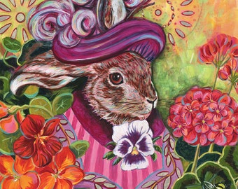 """Archival 6x6 inch Print on Wood """"Rabbit in a Cottage Garden"""""""