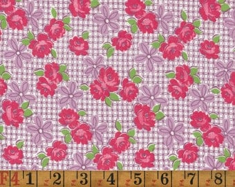 Vintage Feedsack Fabric - Roses on Purple - Quilting Cotton 1940s 1950s