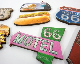 American Road Trip Wood Embellishment Collection - Classic Route 66 Signs