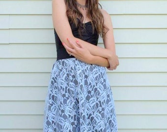 Orchid Skirt SMALL-MEDIUM vintage lace, skirt with pockets, white, black, stretch, upcycled, eco fashion, one of a kind, handmade, floral