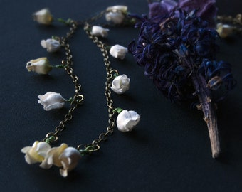 White Foxglove Paper Flower Necklace - Bohemian Layering Necklace - White Flowers - Bohemian Bridal Necklace