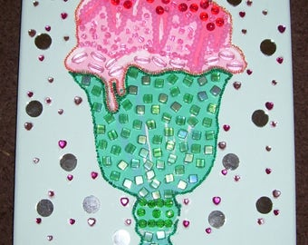 ice cream sundae mosaic mixed media collage beaded painting pink and green
