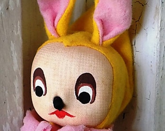 VIntage Japan Japanese Felt Bunny Easter Doll Head