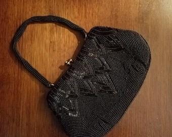 Vintage Black Beaded Formal Evening Bag Purse 1950's 1960's