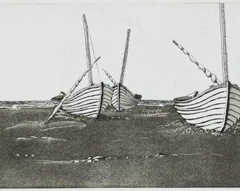 Landscape etching aquatint, original print Low Tide, Wooden Boats