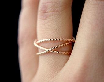 Thick Rose Gold Twist Wraparound ring, 14k rose gold fill wrap ring, wrapped rose gold ring, rose wrap ring, rose gold loop ring, twist ring