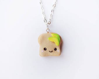 Kawaii Avocado Toast Charm Necklace