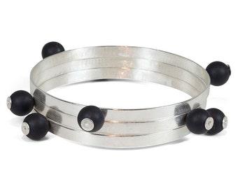 Silver Bangle Bracelet, Onyx Bracelet, Aqua Blue Amazonite, Lavender Amethyst