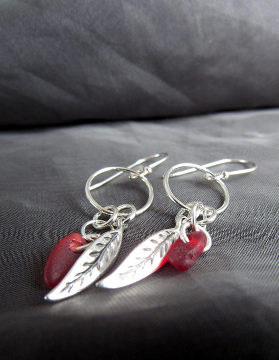 Boho Beach red sea glass earrings